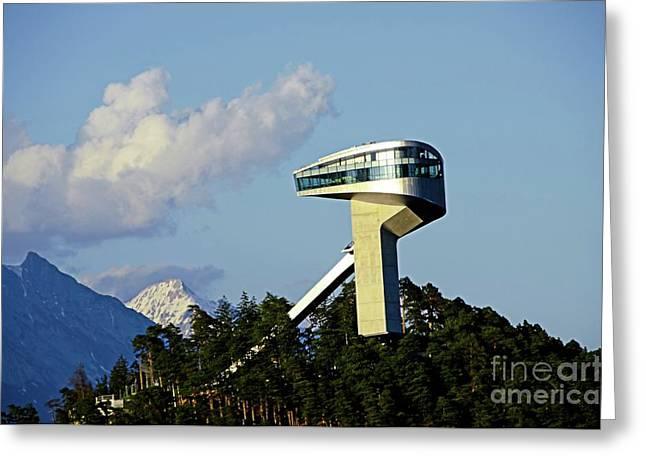 Ski Jumping Tower At Bergisel Innsbruck Austria Greeting Card