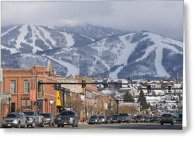 Ski Resort And Downtown Steamboat Greeting Card