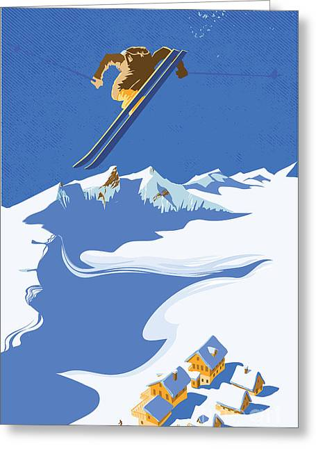 Sky Skier Greeting Card by Sassan Filsoof