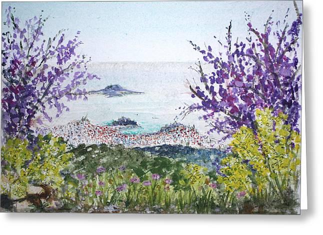 Skiathos Town And Judas Trees Greeting Card by Yvonne Ayoub