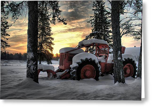 Skidder Sunrise Greeting Card by Heather  Rivet