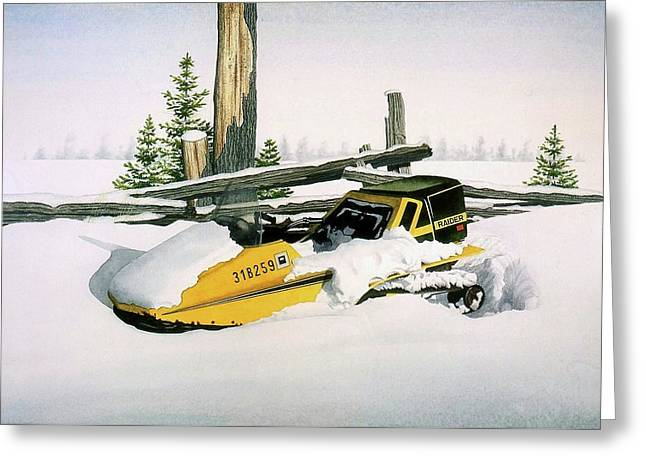 Skidoo Greeting Card by Conrad Mieschke