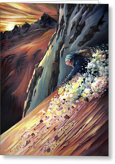 Skier On The Steeps Greeting Card