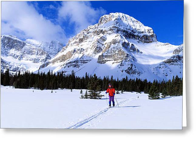 Skier Ptarmigan Peak Wall Of Jericho Greeting Card by Panoramic Images