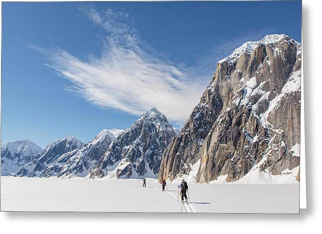 Skiers In The Great Gorge Greeting Card by Tim Grams