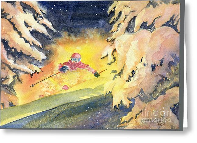 Skiing Art Greeting Card by Melly Terpening