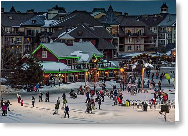 Skiing At The Village Greeting Card by Jeff S PhotoArt