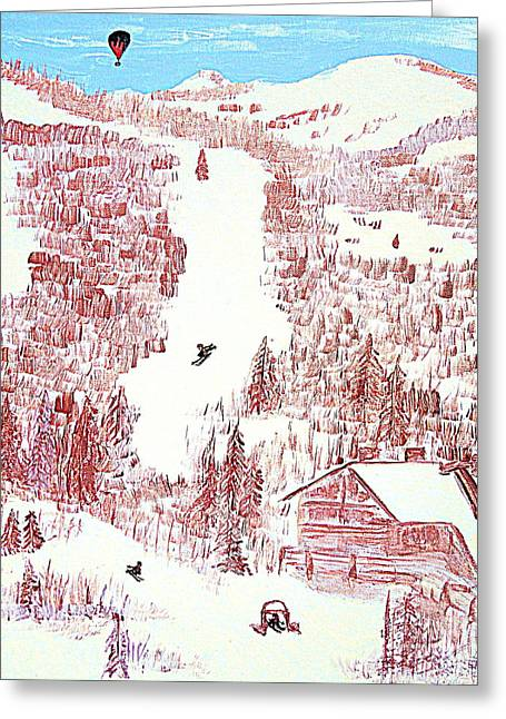 Greeting Card featuring the painting Skiing Deer Valley Utah by Richard W Linford