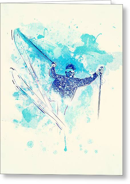 Skiing Down The Hill Greeting Card by BONB Creative