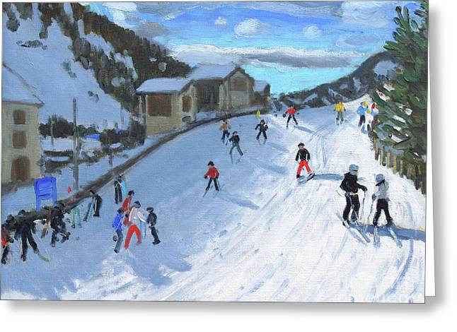 Skiing Down To Selva Val Gardena Greeting Card by Andrew Macara