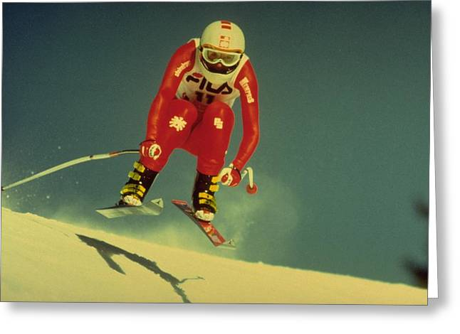 Skiing In Crans Montana Greeting Card