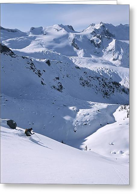 Release Greeting Cards - Skiing In The Selkirk Range, British Greeting Card by Jimmy Chin