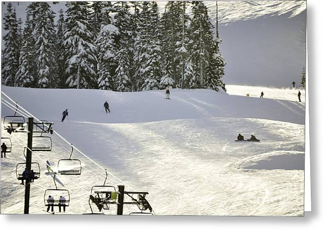 Skiing On Mt Baker Greeting Card by Clayton Bruster