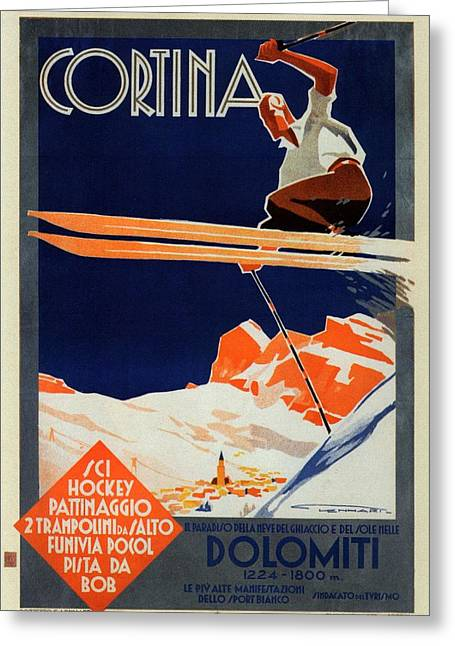 Skiing On The Alps In Cortina - Ice Hockey Tournament - Vintage Advertising Poster Greeting Card