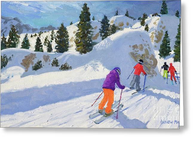 Skiing, Rock City, Selva Gardena, Italy Greeting Card by Andrew Macara