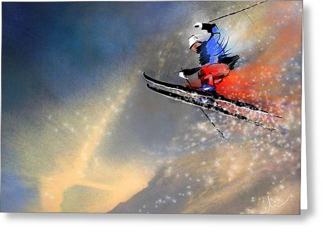Ski Jumping Greeting Cards - Skijumping 03 Greeting Card by Miki De Goodaboom