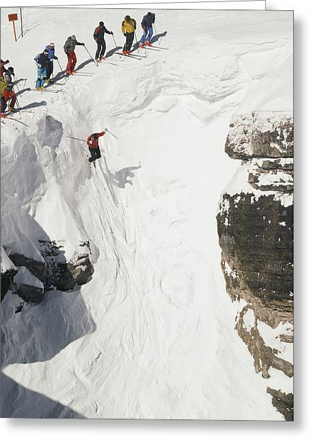 Skilled Skiers Plunge More Than 15 Feet Greeting Card