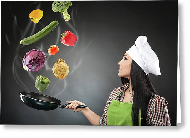 Skillful Cook Lady Throwing Veggies Greeting Card by Catalin Petolea