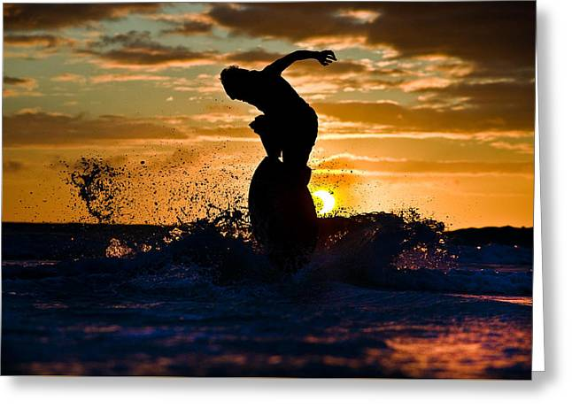 Skimboard On Eclipse Sunset  Greeting Card