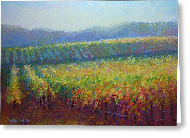 Sonoma County Vineyard Greeting Card by Jill Keller Peters