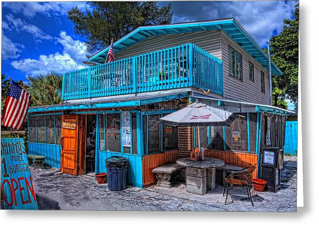 Skinny Photographs Greeting Cards - Skinnys Place Anna Maria Island Greeting Card by Jim Dohms