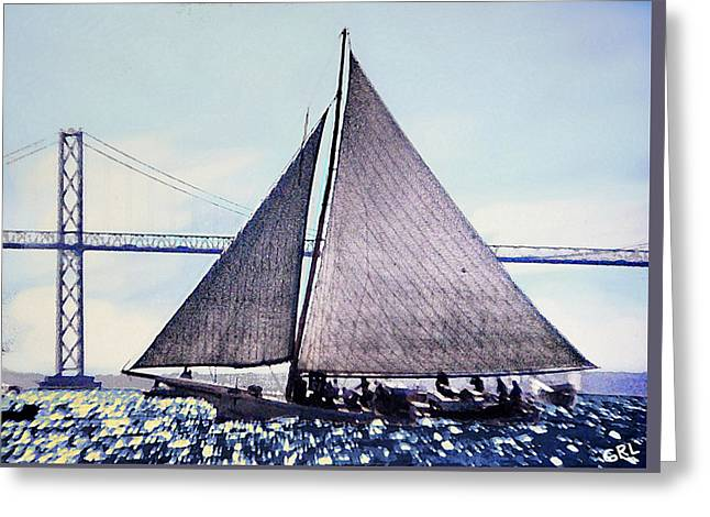 Greeting Card featuring the painting Skipjacks Racing Chesapeake Bay Maryland Contemporary Digital Art Work by G Linsenmayer