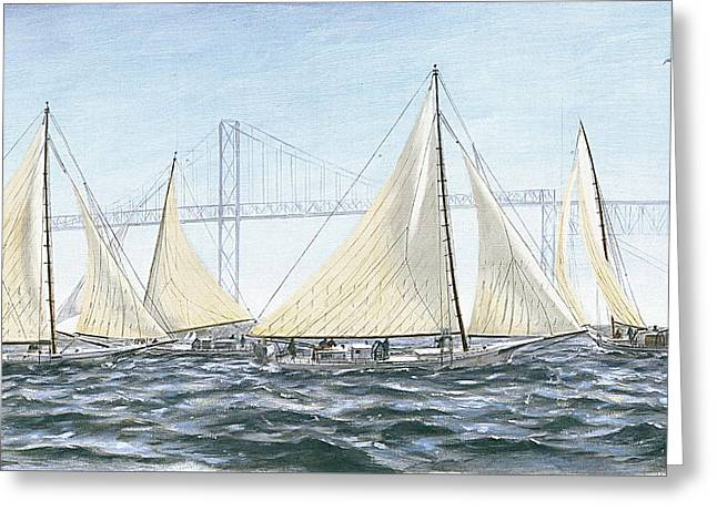 Greeting Card featuring the painting Skipjacks Racing Chesapeake Bay Maryland Detail by G Linsenmayer