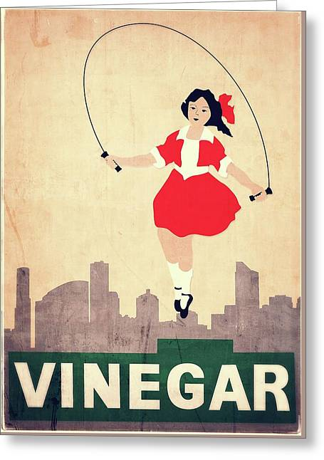 Skipping Girl Vinegar Greeting Card by James Jardine