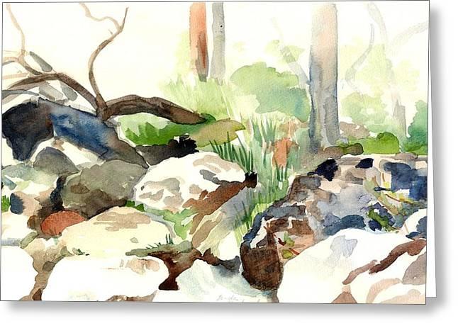 Skipping Rocks Greeting Card by Linda Berkowitz