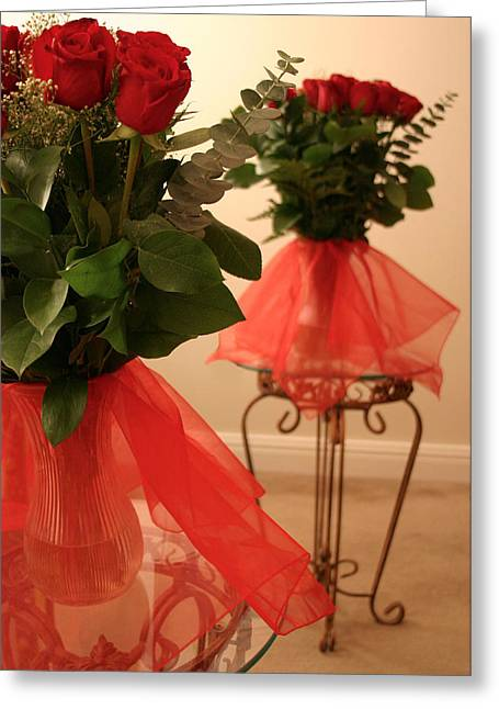 Skirted Roses In Mirror Greeting Card by Kristin Elmquist