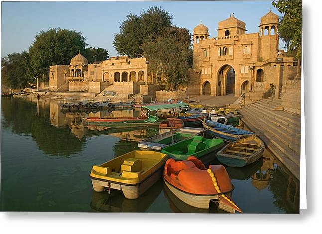 Skn 1391 A Visit To Gadisar Lake Greeting Card by Sunil Kapadia