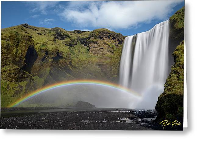 Greeting Card featuring the photograph Skogafoss And Companion Rainbow by Rikk Flohr