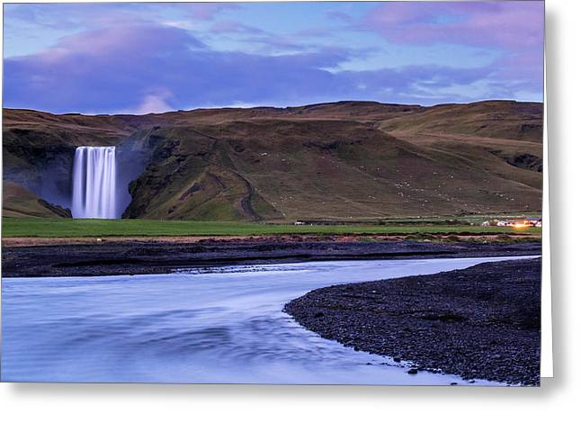 Greeting Card featuring the photograph Skogafoss Dusk Iceland by Brad Scott