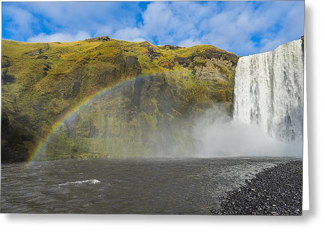 Greeting Card featuring the photograph Skogafoss Rainbow by James Billings