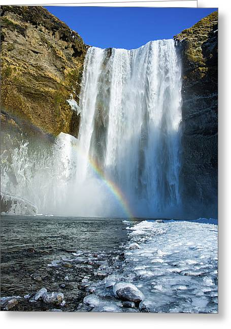 Greeting Card featuring the photograph Skogafoss Waterfall Iceland In Winter by Matthias Hauser