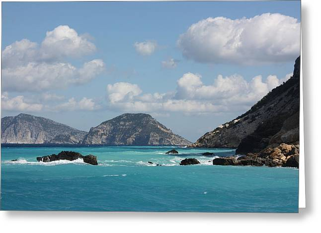 Skopelos Blue Greeting Card by Yvonne Ayoub