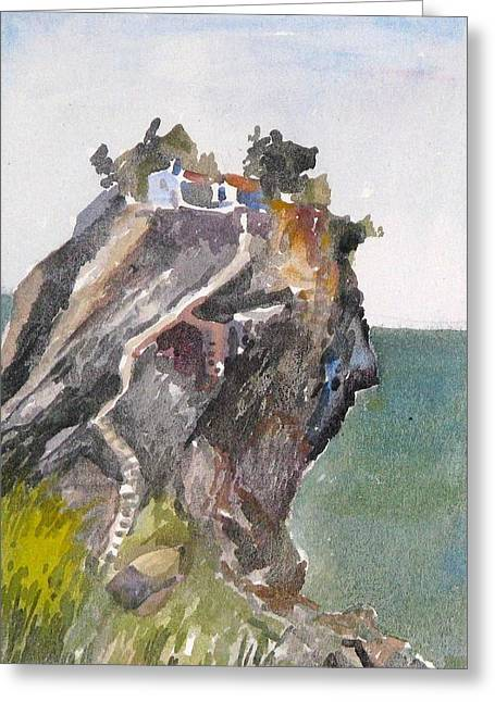 Skopelos Church On The Rock Greeting Card by George Siaba