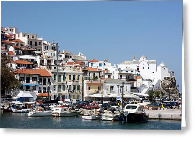 Skopelos Harbour Greece Greeting Card by Yvonne Ayoub