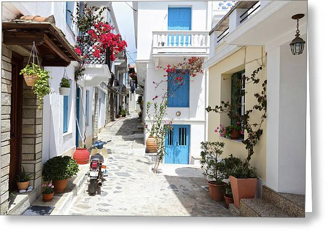 Skopelos Street Greeting Card by Evgeni Dinev