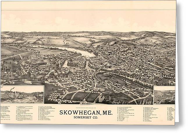 Skowhegan Maine 1892 Greeting Card by Mountain Dreams