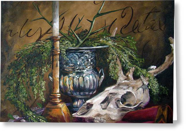 Skull And Candle Greeting Card