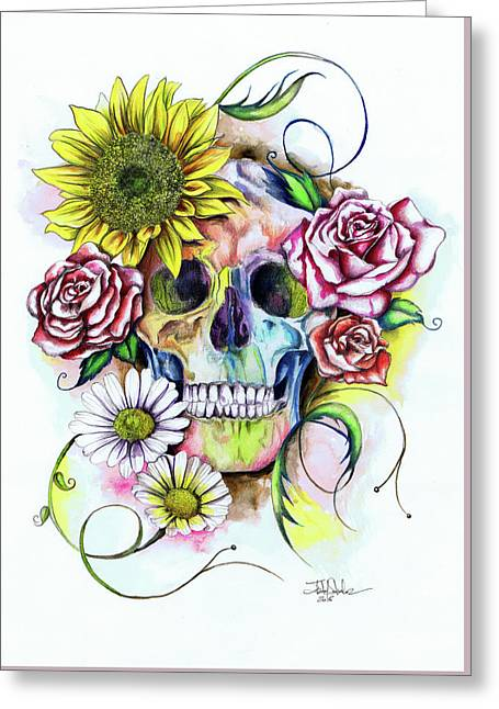 Skull And Flowers Greeting Card by Isabel Salvador