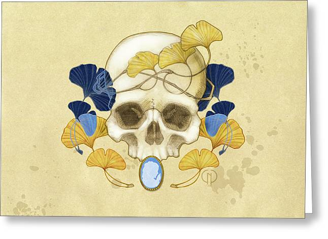 Skull And Ginkgo Greeting Card