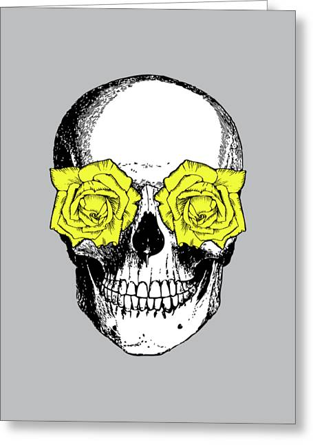 Skull And Roses Greeting Card by Eclectic at HeART