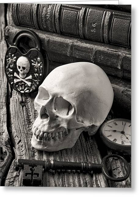 Unlock Greeting Cards - Skull and skeleton key Greeting Card by Garry Gay