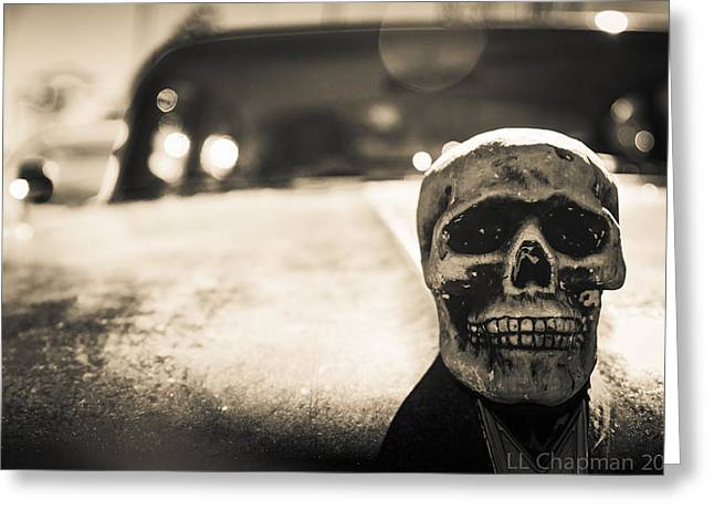 Skull Car Greeting Card by Lora Lee Chapman