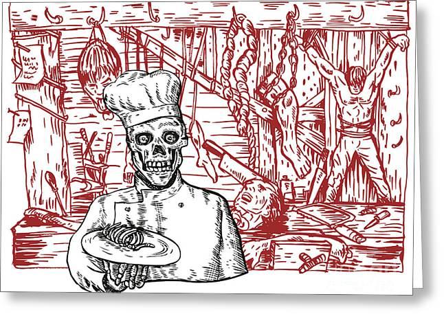 Skull Cook Greeting Card by Aloysius Patrimonio