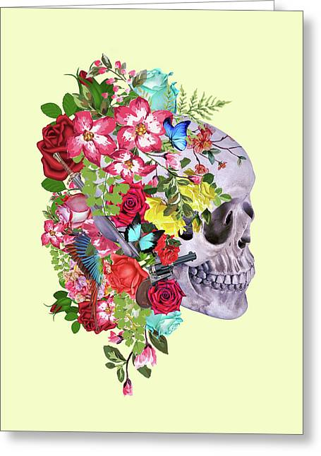 Skull Floral 2 Greeting Card