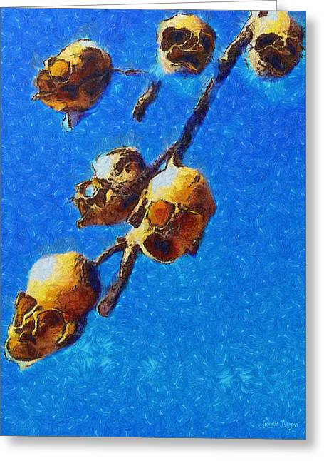 Skull Flower - Pa Greeting Card by Leonardo Digenio
