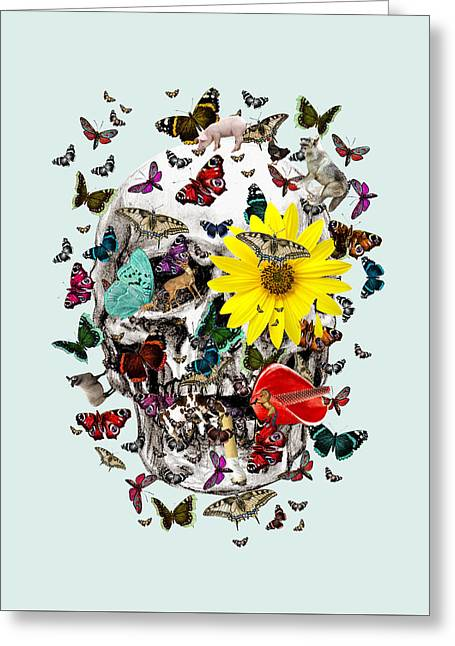 Skull Flowers Animals On Mint Butterflies Greeting Card by Notsniw Art
